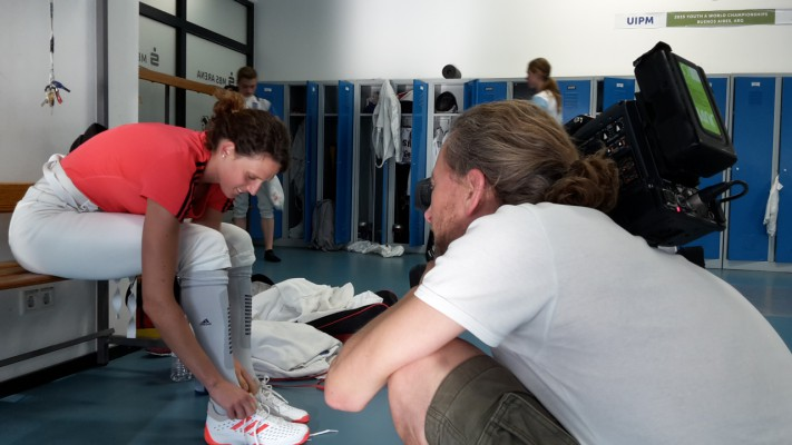 Lena Schöneborn kurz vorm Fechttraining