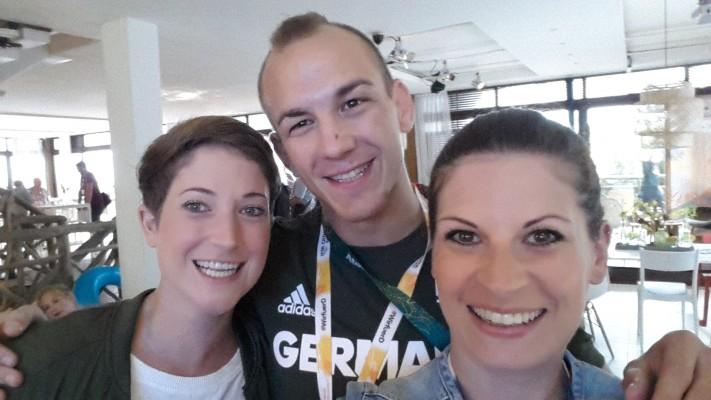 Was'n Trio: Zusammen mit Kollegin Julia Müller und Frank Stäbler, Weltmeister im Ringen